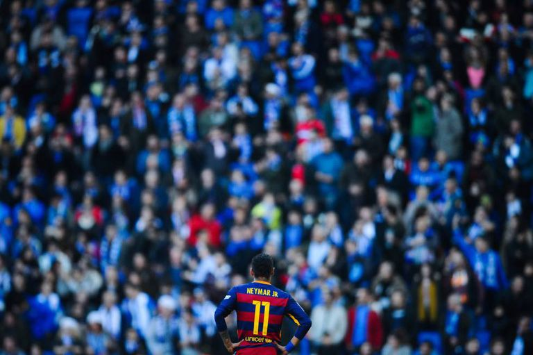 Neymar, em Cornellà, durante o derbi.