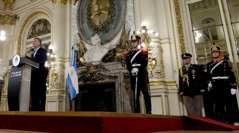 O presidente Mauricio Macri, em coletiva na Casa Rosada, em 19 de dezembro