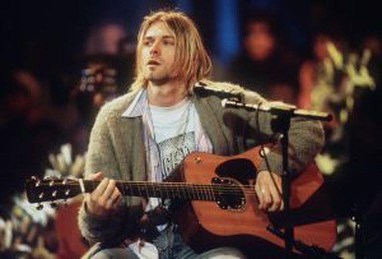 Cobain durante a gravação do acústico 'Unplugged in New York'.