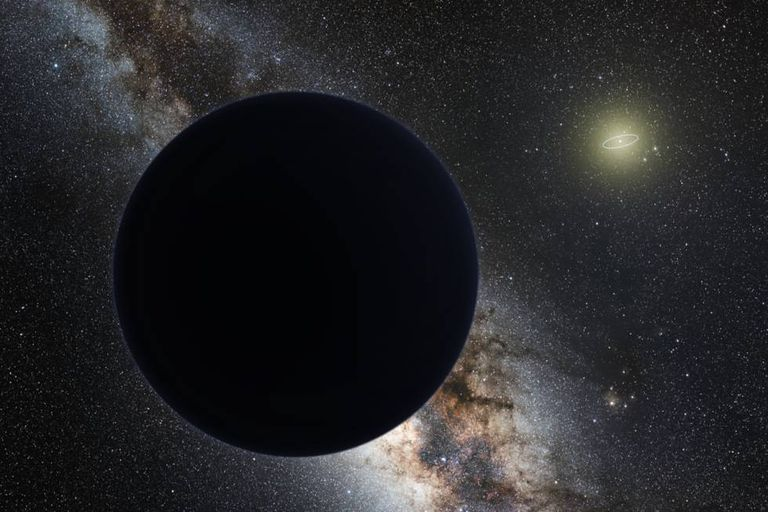 Impressão artística do Planeta Nove com o sistema solar ao fundo à direita.