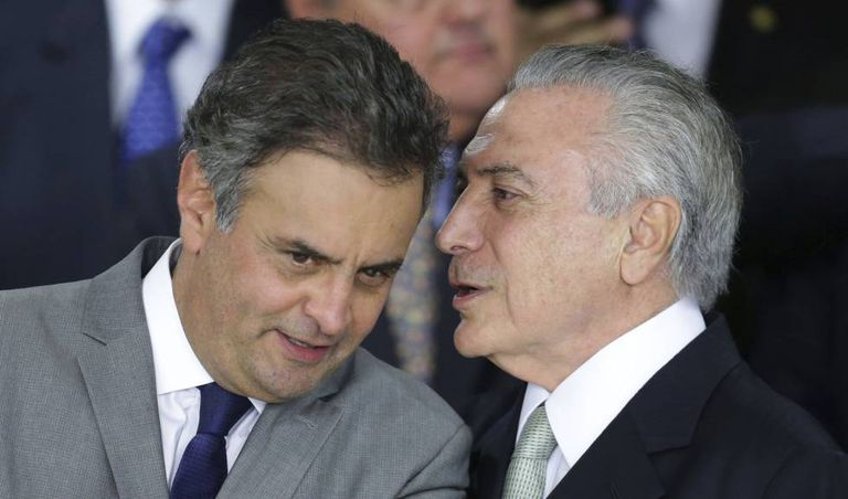 Aécio Neves e Michel Temer, em maio do ano passado, alvo das acusações dos executivos da JBS.