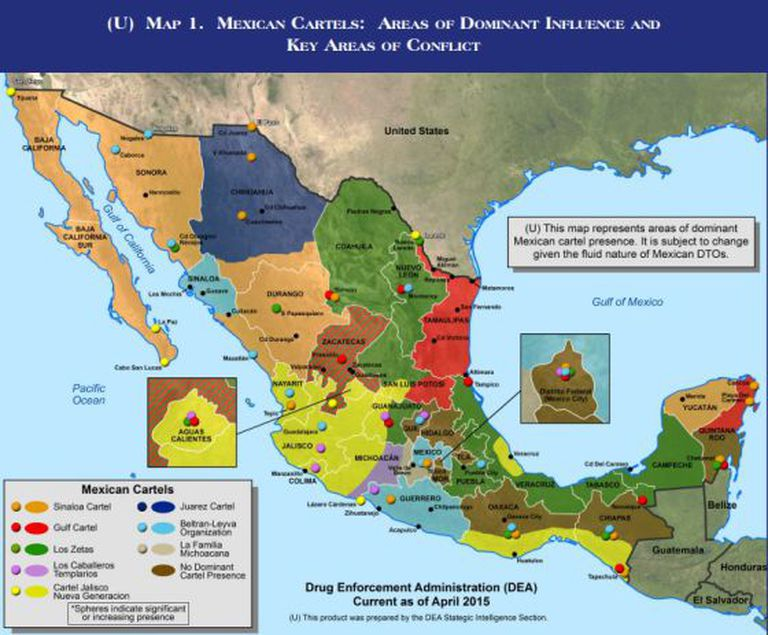 Mapa do narcotráfico no México.