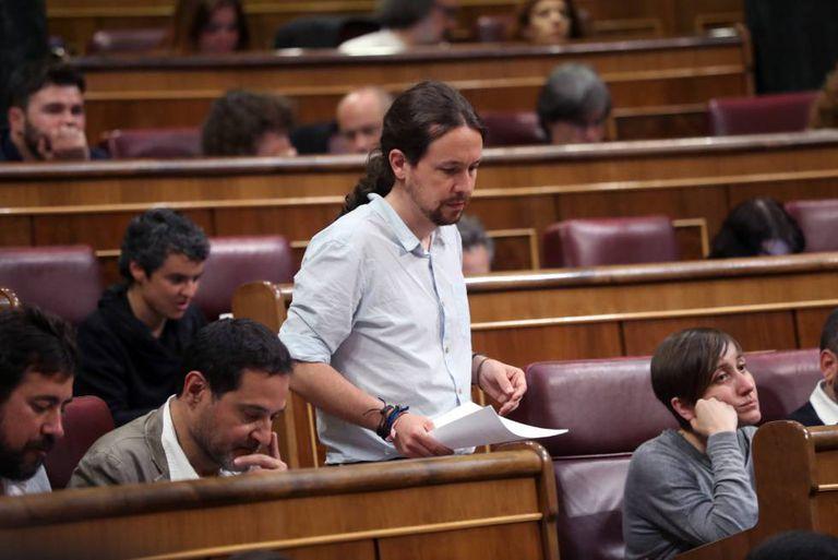 O líder do Podemos, Pablo Iglesias, no Congresso espanhol.
