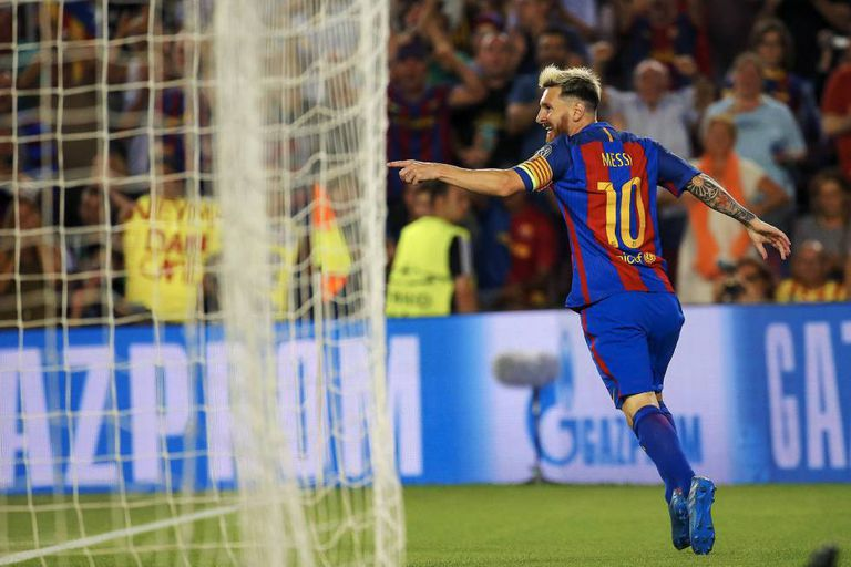 Messi comemora um dos seus gols contra o Celtic.