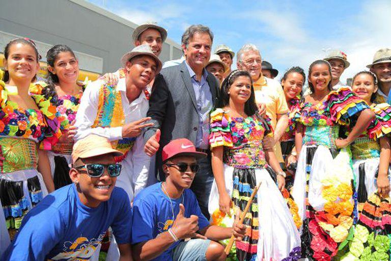 Aécio Neves durante a campanha do PSDB de filiação.