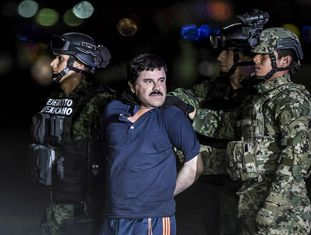 Joaquín Guzmán Loera, El Chapo, preso em janeiro de 2016.