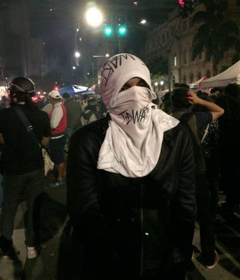 Heitor Martins durante manifestação do Dia da Independência