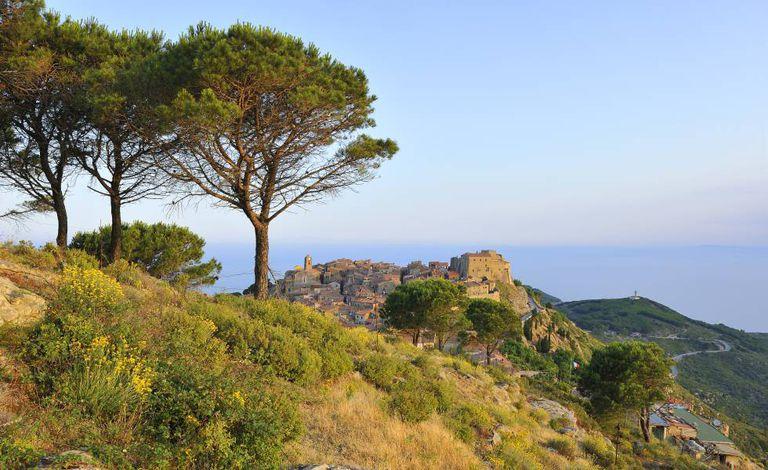Paisagem da ilha de Giglio, em frente à costa da Toscana. Ao fundo, Giglio Castello.