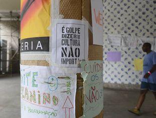Protesto, em março de 2016, contra a extinção do Ministério da Cultura durante ocupação do Palácio Capanema, no centro do Rio.