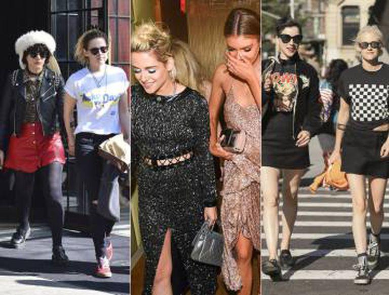 Kristen Stewart e seus múltiplos romances em 2016: começou o ano com a cantora Soko, saiu com St. Vincent quando esta rompeu com Cara Delevingne e acabou com a modelo Stella Maxwell, da Victoria's Secret (a foto, no centro, é do Baile do Met, em maio).