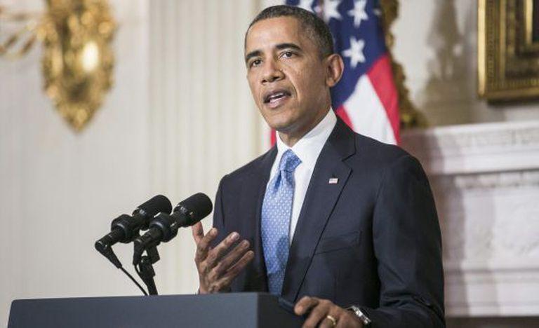 O presidente dos EUA, durante seu discurso sobre o acordo com Irã.