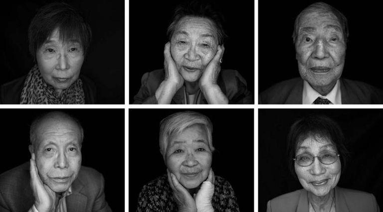 Sobreviventes da bomba atômica em Hiroshima.