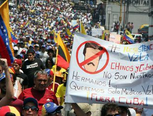Ato contra Maduro em San Cristóbal.