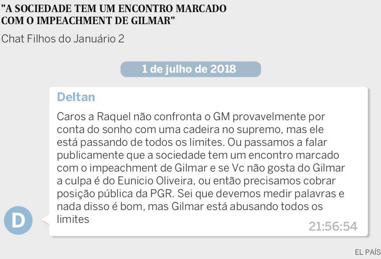 O procurador Dallagnol afirma que a procuradora-geral da República, Raquel Dodge, não entrará em confronto com Gilmar Mendes.
