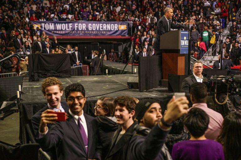 Obama durante comício na Filadélfia, no domingo.