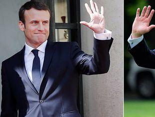 Emmanuel Macron (esquerda) e Donald Trump.