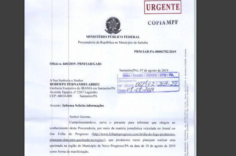 Documento publicado pelo site Poder 360.
