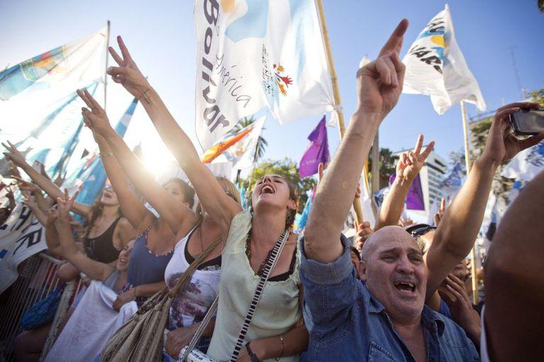 Protesto em apoio da ativista Milagro Sala.