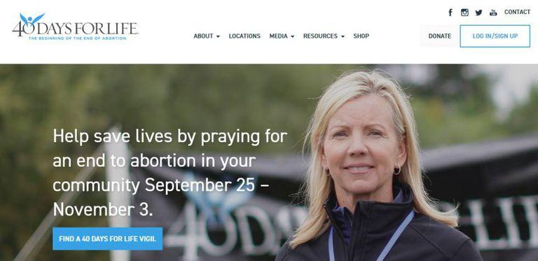 """Site do grupo """"40 Days for Life"""", que coordena campanhas contra o aborto em vários países, incluindo o Brasil."""