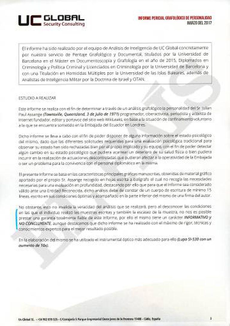 Relatório sobre Julian Assange feito pela empresa UC Global.S.L.