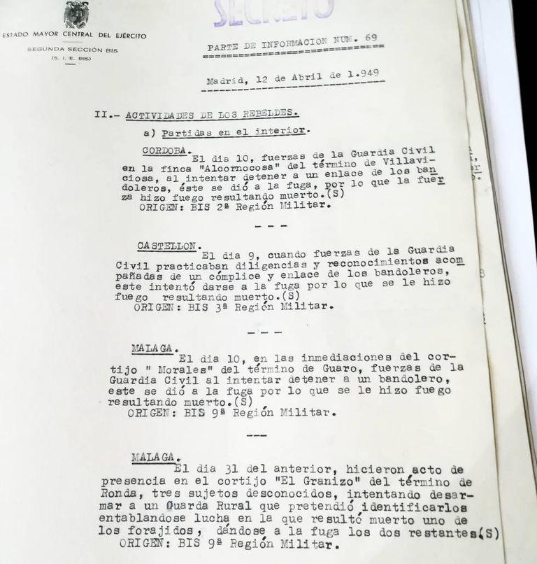 """Relatório de 1949 sobre fugitivos """"contra os quais se abre fogo"""", resultando em sua morte."""