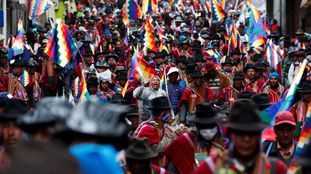 Uma manifestação em La Paz, na Bolívia.