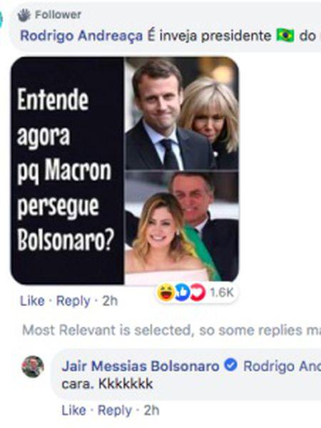 Captura de tela do comentário do presidente do Brasil troçando-se de Brigitte Macron.