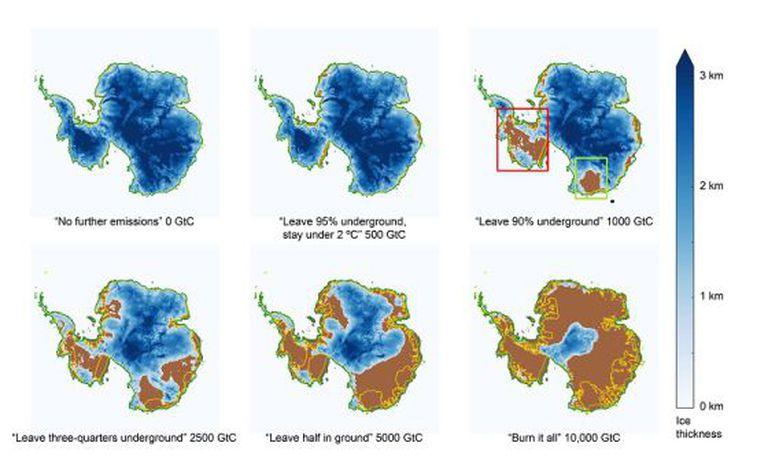 Evolução da camada de gelo do cenário mais otimista (zero emissões) até o mais pessimista (uso de todo o petróleo).