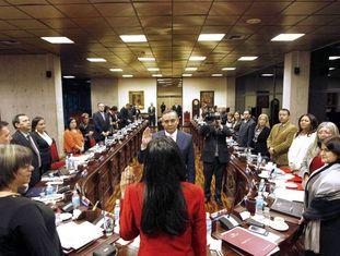 O presidente do Supremo venezuelano, Maikel José Moreno tomando posse de seu cargo em fevereiro