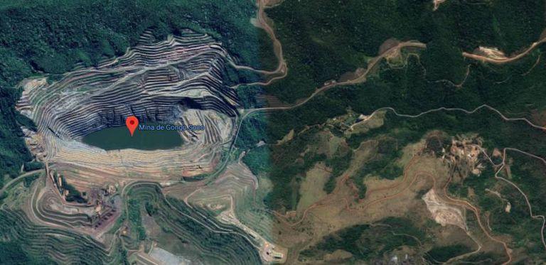 Reprodução do Google Maps da região da Mina de Gongo Soco, em MG