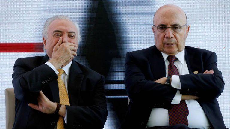 Temer e Meirelles no evento do MDB, em Brasília.