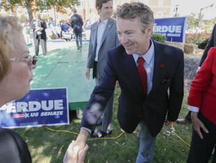O republicano Rand Paul em evento do candidato ao Senado David Perdue.
