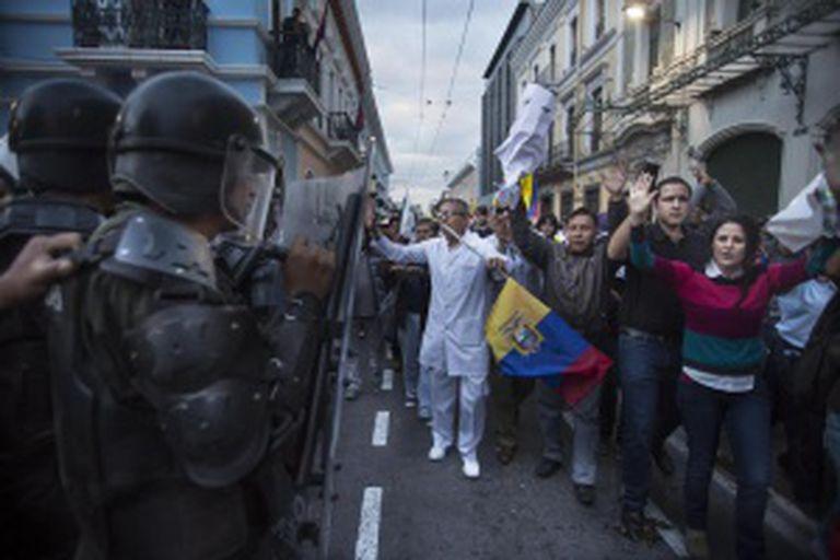 Manifestação em Quito, nesta quinta-feira