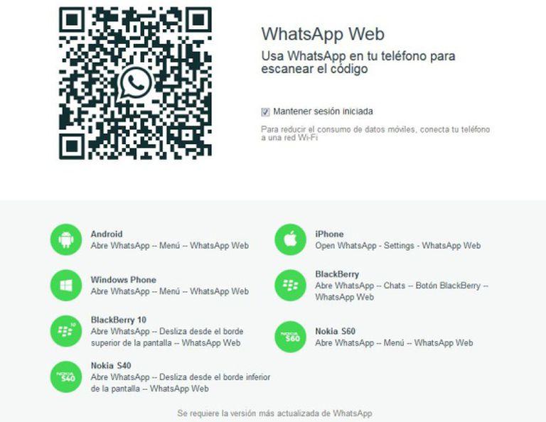 O símbolo de iPhone já aparece na mesma página que vincula o telefone ao QR code.