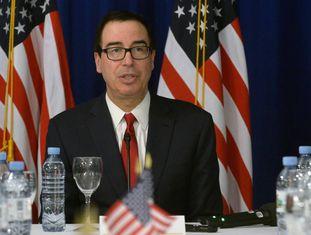 O secretário do Tesouro dos EUA, Steven Mnuchin, durante encontro com a imprensa.