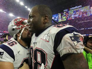 Martellus Bennett ao final do Super Bowl.