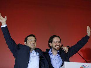 Alexis Tsipras, do Syriza, e Pablo Iglesias, do Podemos.