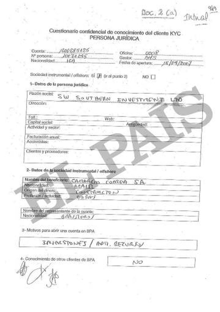 Documento confidencial da Banca Privada d'Andorra (BPA) sobre uma das sociedades controladas pela Camargo Correa.