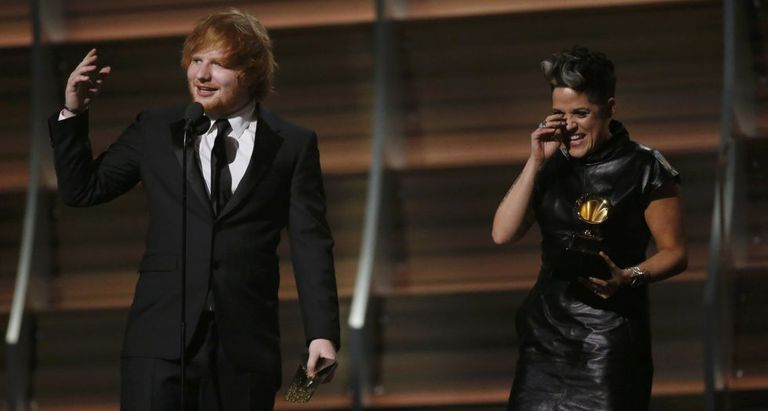 Ed Sheeran e Amy Wadge, compositores de 'Thinking out loud'.