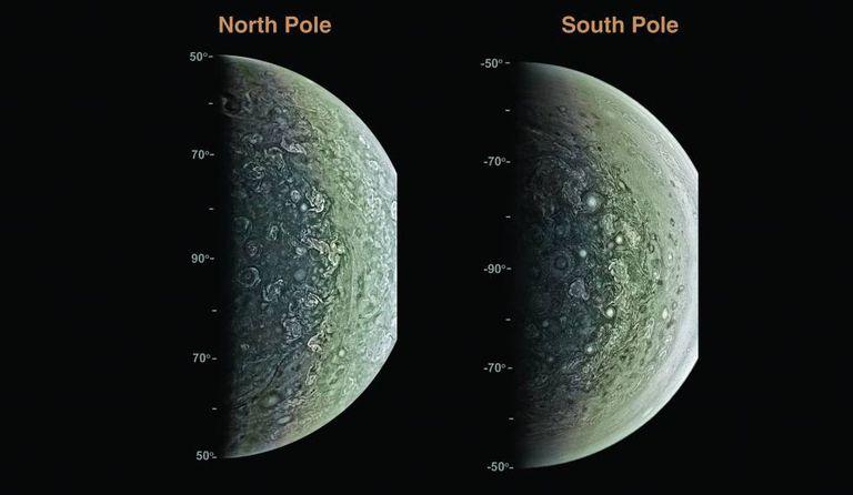 Imagens dos polos de Júpiter pela sonda Juno