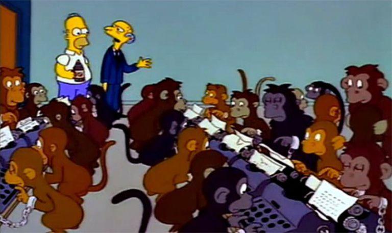 Os macacos escrevendo à máquina do senhor Burns.