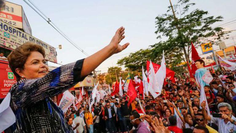 Dilma durante ato de campanha em Minas Gerais.