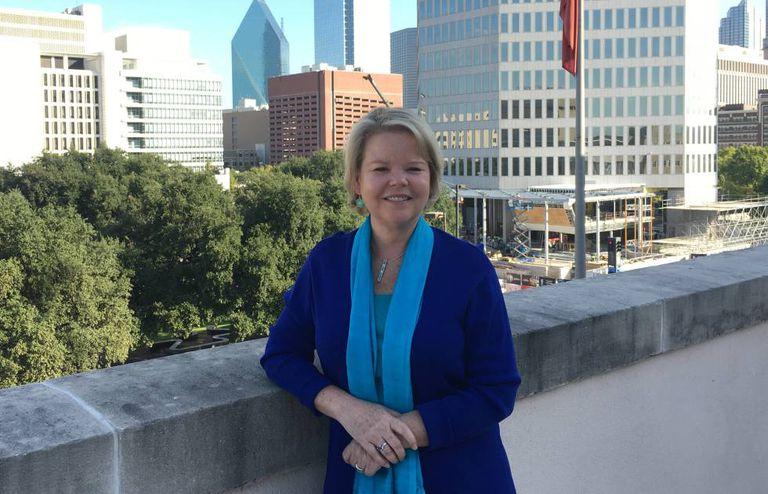 Keven Ann Milley, no terraço do 'Dallas Morning News'.