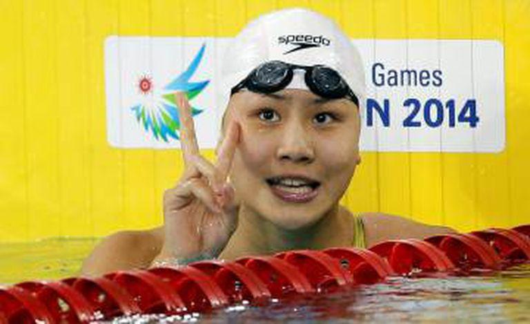 Chen Xinyi numa competição em 2014.