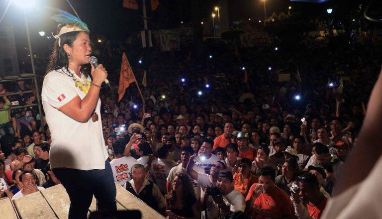 A candidata presidencial pelo partido político Fuerza Popular, Keiko Fujimori, na quarta-feira.
