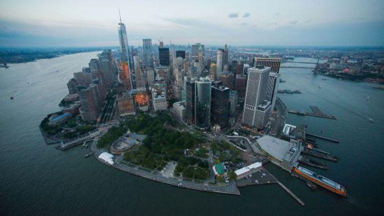 Vista aérea da ilha de Manhattan feita em junho.