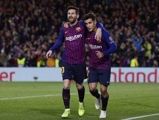 Messi marcou duas vezes e Coutinho uma na goleada do Barcelona.