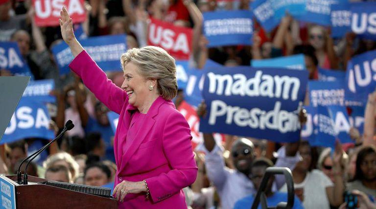 A candidata democrata, Hillary Clinton, na Carolina do Norte.