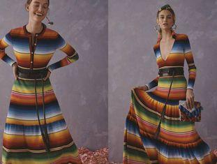Vestidos da estilista Carolina Herrera inspirados no poncho de Saltillo.