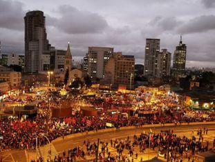 Manifestantes em São Paulo, nesta quinta.